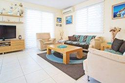 Гостиная. Кипр, Фиг Три Бэй Протарас : Очаровательная вилла с видом на Средиземное море, с 5-ю спальнями, 5-ю ванными комнатами, с прелестной зелёной лужайкой, тенистой террасой с патио и lounge-зоной, расположена на берегу моря в Протарасе
