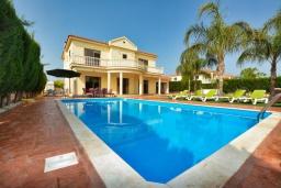 Вид на виллу/дом снаружи. Кипр, Центр Айя Напы : Стильная двухэтажная вилла с 5-ю спальнями, с большим бассейном, 3-мя балконами, солнечной террасой с патио и барбекю