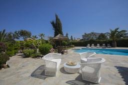 Зона отдыха у бассейна. Кипр, Коннос Бэй : Шикарная вилла с 5-ю спальнями, с большим бассейном, красивым зелёным садом, беседкой с уличным баром и каменным барбекю, расположена в тихом уютном месте Cape Gkreco всего в 900 метрах от пляжа Konnos Bay Beach