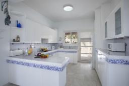 Кухня. Кипр, Коннос Бэй : Шикарная вилла с 5-ю спальнями, с большим бассейном, красивым зелёным садом, беседкой с уличным баром и каменным барбекю, расположена в тихом уютном месте Cape Gkreco всего в 900 метрах от пляжа Konnos Bay Beach
