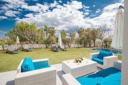 Патио. Кипр, Сиренс Бич - Айя Текла : Потрясающая вилла с 3-мя спальнями, с большим зелёным садом, с бассейном, солнечной террасой с патио и барбекю, расположена в 300 метрах от моря