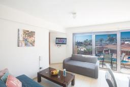 Гостиная. Кипр, Центр Айя Напы : Уютный апартамент с отдельной спальней и балконом, расположен в комплексе с общим бассейном в 400 метрах от пляжа Limanaki beach