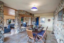 Обеденная зона. Кипр, Аммос - Лимнария Бич : Потрясающая вилла с террасой на крыше с захватывающим видом на Ayia Napa и Средиземное море, с 4-мя спальнями, с бассейном в окружении пышного зелёного сада, lounge-зоной и барбекю, расположена в предгорьях Ayia Napa в очень уединенном и спокойном районе