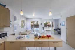 Кухня. Кипр, Пернера : Современная вилла с 3-мя спальнями, с бассейном, тенистой террасой с патио, lounge-зоной и барбекю, в окружении зелёного сада, расположена около пляжа Pernera Beach