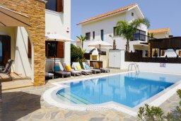 Бассейн. Кипр, Ионион - Айя Текла : Удивительная вилла с потрясающим видом на море, с 4-мя спальнями, с бассейном, с красивым зелёным садом, с патио и барбекю, расположена у пляжа Potamos Bay beach