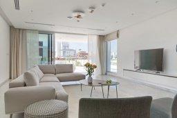 Гостиная. Кипр, Аммос - Лимнария Бич : Современная вилла с видом на Средиземное море, с 6-ю спальнями, с бассейном с джакузи, меблированной террасой на крыше, расположена в 140 метрах от пляжа