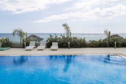 Бассейн. Кипр, Декелия - Ороклини : Современная пляжная вилла с бассейном и видом на море, 4 спальни, 3 ванные комнаты, барбекю, парковка, Wi-Fi