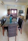 Обеденная зона. Кипр, Перволия : Прекрасная вилла с бассейном и двориком, 4 спальни, 2 ванные комнаты, парковка, Wi-Fi