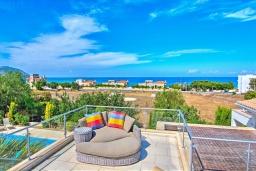 Вид на море. Кипр, Лачи : Роскошное бунгало с террасой на крыше с панорамным видом на море и lounge-зоной, с 3-мя спальнями, с бассейном, джакузи, летней кухней и барбекю, расположено около пляжа Souli Beach