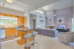 Кухня. Кипр, Лачи : Роскошное бунгало с террасой на крыше с панорамным видом на море и lounge-зоной, с 3-мя спальнями, с бассейном, джакузи, летней кухней и барбекю, расположено около пляжа Souli Beach