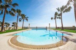 Бассейн. Кипр, Менеу : Шикарная вилла с прекрасным видом на море, с 4-мя спальнями, с большим бассейном, зелёной территорией, патио и барбекю