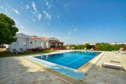 Вид на виллу/дом снаружи. Кипр, Ионион - Айя Текла : Прекрасная вилла с большим бассейном и зеленым двориком в 100 метрах от пляжа, 4 спальни, 2 ванные комнаты, барбекю, парковка, Wi-Fi