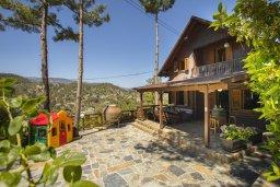 Фасад дома. Кипр, Троодос : Комплекс из трех деревянных коттеджей с большой зеленой территорией, с 3-мя гостиными с кухнями, 8 спальнями, 4 ванными комнатами, барбекю и потрясающим видом на горы и деревню Spilia