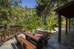 Терраса. Кипр, Троодос : Двухэтажный деревянный коттедж с большой зелёной территорией, 3-мя спальнями, 2-мя ванными комнатами, тенистой террасой, барбекю и потрясающим видом на горы и деревню Spilia