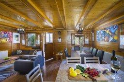 Гостиная. Кипр, Троодос : Двухэтажный деревянный коттедж с большой зелёной территорией, 3-мя спальнями, 2-мя ванными комнатами, тенистой террасой, барбекю и потрясающим видом на горы и деревню Spilia