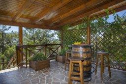 Терраса. Кипр, Троодос : Очаровательный двухэтажный деревянный коттедж с большой зелёной территорией, 3-мя спальнями, тенистой террасой, барбекю и потрясающим видом на горы и деревню Spilia