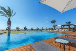 Бассейн. Кипр, Аммос - Лимнария Бич : Шикарная вилла с панорамным видом на море, с 5-ю спальнями, с большим бассейном, солнечной террасой на крыше с джакузи, домашним кинотеатром, расположена в 50 метрах от уединенной песчаной бухты
