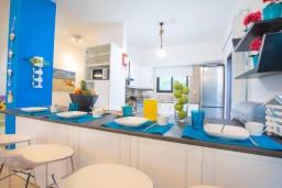 Кухня. Кипр, Коннос Бэй : Прекрасная вилла с 4-мя спальнями, с бассейном, тенистой террасой с патио и барбекю, в окружении зелёного сада