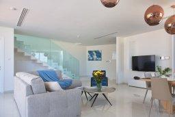 Гостиная. Кипр, Пернера Тринити : Современная вилла с потрясающим видом на Средиземное море, с 3-мя спальнями, с бассейном, солнечной меблированной террасой на крыше с джакузи, расположена в прекрасном тихом районе Ayia Triada около пляжа Trinity Beach