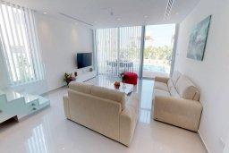 Гостиная. Кипр, Пернера Тринити : Потрясающая современная вилла с видом на Средиземное море, с 3-мя спальнями, с бассейном и солнечной террасой на крыше с джакузи и lounge-зоной