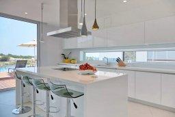 Кухня. Кипр, Аммос - Лимнария Бич : Современная вилла с потрясающим видом на Средиземное море, с 3-мя спальнями, с пейзажным бассейном с джакузи, солнечной террасой на крыше, барбекю, расположена на побережье Айя-Напы