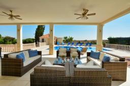 Патио. Кипр, Нисси Бич : Роскошная вилла с видом на море и на горы, с 5-ю спальнями, с бассейном, тенистой террасой с патио и барбекю, в окружении зелёного сада, расположена в тихом районе Ayia Napa