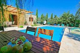Зона отдыха у бассейна. Кипр, Друсхия : Каменный дом в окружение пышного зелёного сада, с 3-мя спальнями, 2-мя кухнями, бассейном с тенистой террасой с патио и барбекю, расположен в живописной деревне Droushia