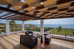 Терраса. Кипр, Си Кейвз : Прекрасная пляжная вилла с бассейном и зеленым двориком с барбекю, 4 спальни, 4 ванные комнаты, парковка, Wi-Fi