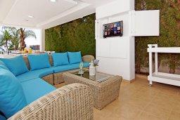 Патио. Кипр, Нисси Бич : Роскошная вилла с панорамным видом на море, с 6-ю спальнями, 2-мя ванными комнатами, большим бассейном, патио, беседкой с lounge-баром, традиционным каменным барбекю и бильярдом, расположена на холме между Айя-Напой и Протарасом