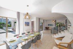 Обеденная зона. Кипр, Аммос - Лимнария Бич : Великолепная вилла с видом на Средиземное море, с 4-мя спальнями, с бассейном, тенистой террасой с патио и каменным барбекю, расположена в 450 метрах от пляжа Glyki Nero Beach