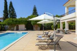 Бассейн. Кипр, Перволия : Шикарная вилла с 5-ю спальнями, с сауной, бильярдом, с бассейном, в окружении зелёного сада,  тенистой террасой с патио и барбекю, расположена в 150 метрах от пляжа Pergola Beach