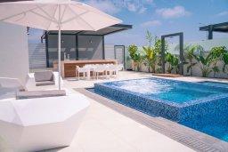 Зона отдыха у бассейна. Кипр, Аммос - Лимнария Бич : Шикарная вилла с панорамным видом на Средиземное море, с 3-мя спальнями, пейзажным бассейном с джакузи, террасой на крыше, расположена в 180м от моря