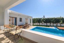 Терраса. Кипр, Нисси Бич : Великолепная вилла в окружении зелёного сада, с 3-мя спальнями, с бассейном, тенистой террасой с патио и барбекю, расположена около пляжей Callisto beach и Pernera beach