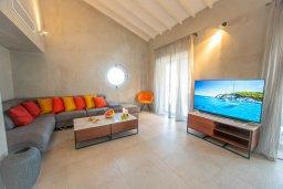 Гостиная. Кипр, Коннос Бэй : Шикарная вилла с видом на Средиземное море, с 5-ю спальнями, с бассейном с джакузи, в окружении зелёного сада с фруктовыми деревьями, тенистой террасой на крыше, расположена недалеко от пляжа Konnos Bay Beach