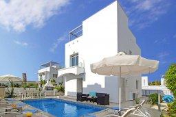 Вид на виллу/дом снаружи. Кипр, Нисси Бич : Восхитительная вилла с 3-мя спальнями, с бассейном, солнечной террасой с патио и каменным барбекю, садом на крыше с панорамным видом, расположена в 500 метрах от пляжа Sandy Bay Beach