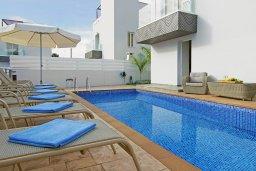 Бассейн. Кипр, Нисси Бич : Великолепная вилла с 3-мя спальнями, с бассейном, солнечной террасой с патио и каменным барбекю, садом на крыше с панорамным видом, расположена в 500 метрах от пляжа Sandy Bay Beach