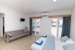 Гостиная. Кипр, Санрайз Протарас : Комфортабельный апартамент с гостиной, отдельной спальней и уютным балконом, расположен в самом центре Протараса в 350м от песчаного пляжа Sunrise Beach
