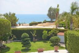 Зелёный сад. Кипр, Корал Бэй : Потрясающая вилла с видом на Средиземное море, с 3-мя спальнями, с бассейном, в окружении пышного зелёного сада, тенистой террасой с патио и барбекю, расположена недалеко от пляжа Coral Bay Beach