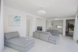 Гостиная. Кипр, Санрайз Протарас : Шикарная вилла с террасой на крыше с видом на Средиземное море, 5-ю спальнями, 5-ю ванными комнатами, с бассейном, с патио и барбекю, расположена в 600 метрах от пляжа Sunrise Beach