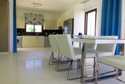 Обеденная зона. Кипр, Коннос Бэй : Роскошная вилла с 4-мя спальнями, с бассейном, джакузи, солнечной террасой с lounge-зоной, дровяной кипрской печью, в окружении пышного зелёного сада, с тренажерным залом и сауной, расположена в 500 метрах от пляжа Konnos Bay Beach