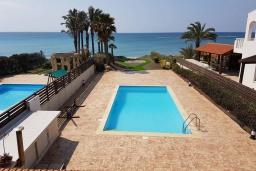Бассейн. Кипр, Перволия : Вилла на берегу моря с панорамным видом, с 4-мя спальнями, 4-мя ванными комнатами, с бассейном, солнечной террасой и каменным барбекю