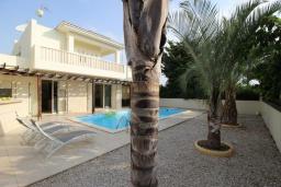 Вид на виллу/дом снаружи. Кипр, Декелия - Ороклини : Вилла с видом на Средиземное море, с 4-мя спальнями, с бассейном, тенистой  террасой с патио и барбекю, расположена на побережье в Dhekelia