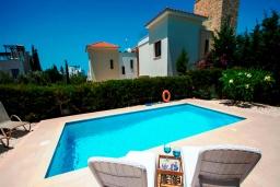Бассейн. Кипр, Хлорака : Роскошная вилла с видом на море, с 3-мя спальнями, с бассейном, тенистой террасой с патио и каменным барбекю, расположена на побережье Пафоса