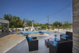 Территория. Кипр, Коннос Бэй : Прекрасная вилла с 3-мя спальнями, с частным открытым бассейном, большой территорией с зеленым садом, барбекю и традиционной глиняной печью
