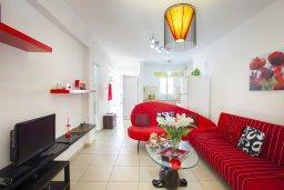 Гостиная. Кипр, Центр Айя Напы : Комфортабельный апартамент в центре Айя Напы с отдельной спальней, террасой с барбекю и красивым садом