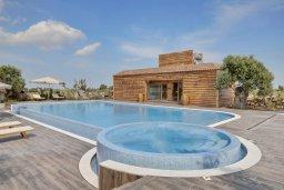 Бассейн. Кипр, Паралимни : Шикарный дом с большим бассейном и джакузи, 4 спальни, 2 ванные комнаты, сауна, камин, барбекю, парковка, Wi-Fi
