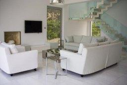 Гостиная. Кипр, Перволия : Современная пляжная вилла с бассейном и зеленым двориком, 3 спальни, 3 ванные комнаты, барбекю, парковка, Wi-Fi