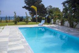 Бассейн. Кипр, Перволия : Современная пляжная вилла с бассейном и зеленым двориком, 3 спальни, 3 ванные комнаты, барбекю, парковка, Wi-Fi