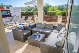 Патио. Кипр, Фиг Три Бэй Протарас : Прекрасная вилла с бассейном и зеленым двориком, 3 спальни, 2 ванные комнаты, патио, барбекю, парковка, Wi-Fi