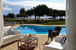 Бассейн. Кипр, Ионион - Айя Текла : Прекрасная вилла с бассейном напротив пляжа и с видом на море, 3 спальни, 2 ванные комнаты, парковка, Wi-Fi